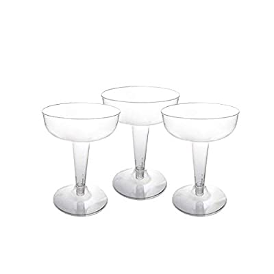 Party Essentials Hard Plastic Two Piece 4-Ounce Champagne Glasses