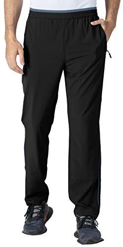YSENTO Herren Jogginghose Lang Fitnesshose Schnell Trocknend Atmungsaktiv Leicht Sport Laufhose mit Reißverschlusstaschen(02Schwarz,XL)