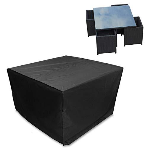 LWL House Anti-UV étanche à la poussière 210D Oxford Tissu Table Pliante Chaises Housse de Protection Mobilier d'extérieur Couverture Set, Taille: 123 * 123 * 74cm (Noir) Haute qualité