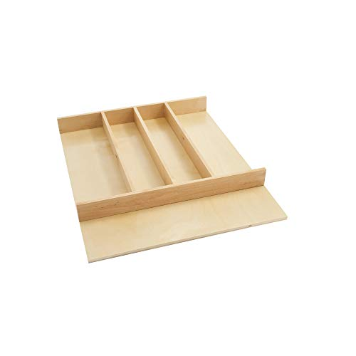 Rev-A-Shelf 4WUT-1SH 18.5-Inch Shallow Trimmable Wooded Kitchen Drawer Utility Cutlery Tray Organizer Insert, Maple
