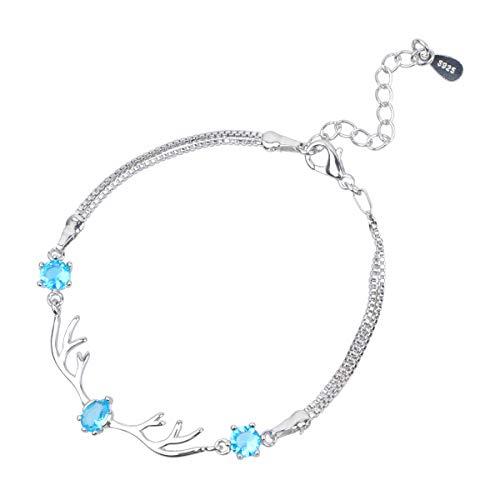 Amosfun Pulsera para el día de San Valentín, elegante, decoración de mano, regalo de cumpleaños, joyería de moda para mujeres (azul)