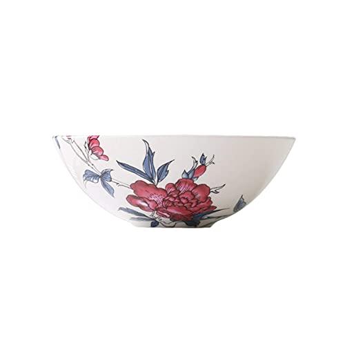 Cuenco de cerámica - Artesanía bajo vidriado - Superficie lisa y delicada - Cuenco de grano de porcelana de hueso de 6.5 pulgadas de alto - Adecuado para ensaladas, pasta, arroz, microondas y lavavaji