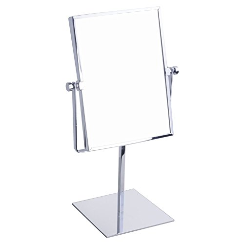 GURUN Modern Rectangle Vanity Makeup Mirror, Double-Sided, 3X Magnification, Polished Chrome -