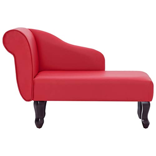 Festnight- Chaiselongue Recamiere Lounge Sofa Couch Chaiselongue Lounge Sofa Relax Liege Kunstleder Rot 108 x 53 x 68 cm
