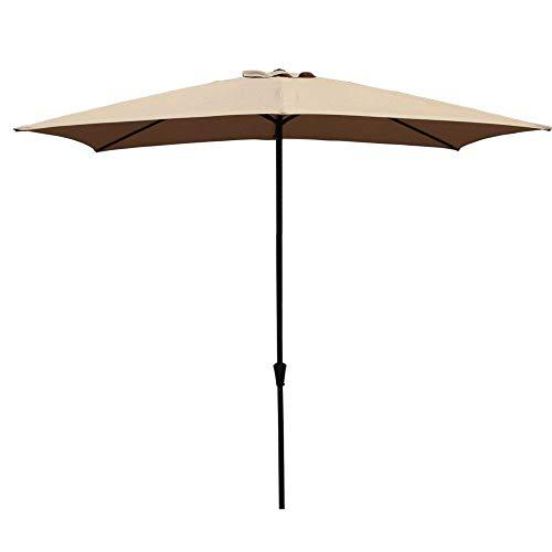 COBANA Rectangular Patio Umbrella, Outdoor Table Market Umbrella with Push Button Tilt/Crank, 6.6' by9.8', Beige