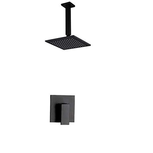 PajCzh Badkamer Fixturesall Koper Zwart Embedded Box Verborgen Douche Wandmontage Douchekraan Set Embedded Plafond Douchescherm, Ophangmodellen - 304 Enkele Douche 8 Inch pak