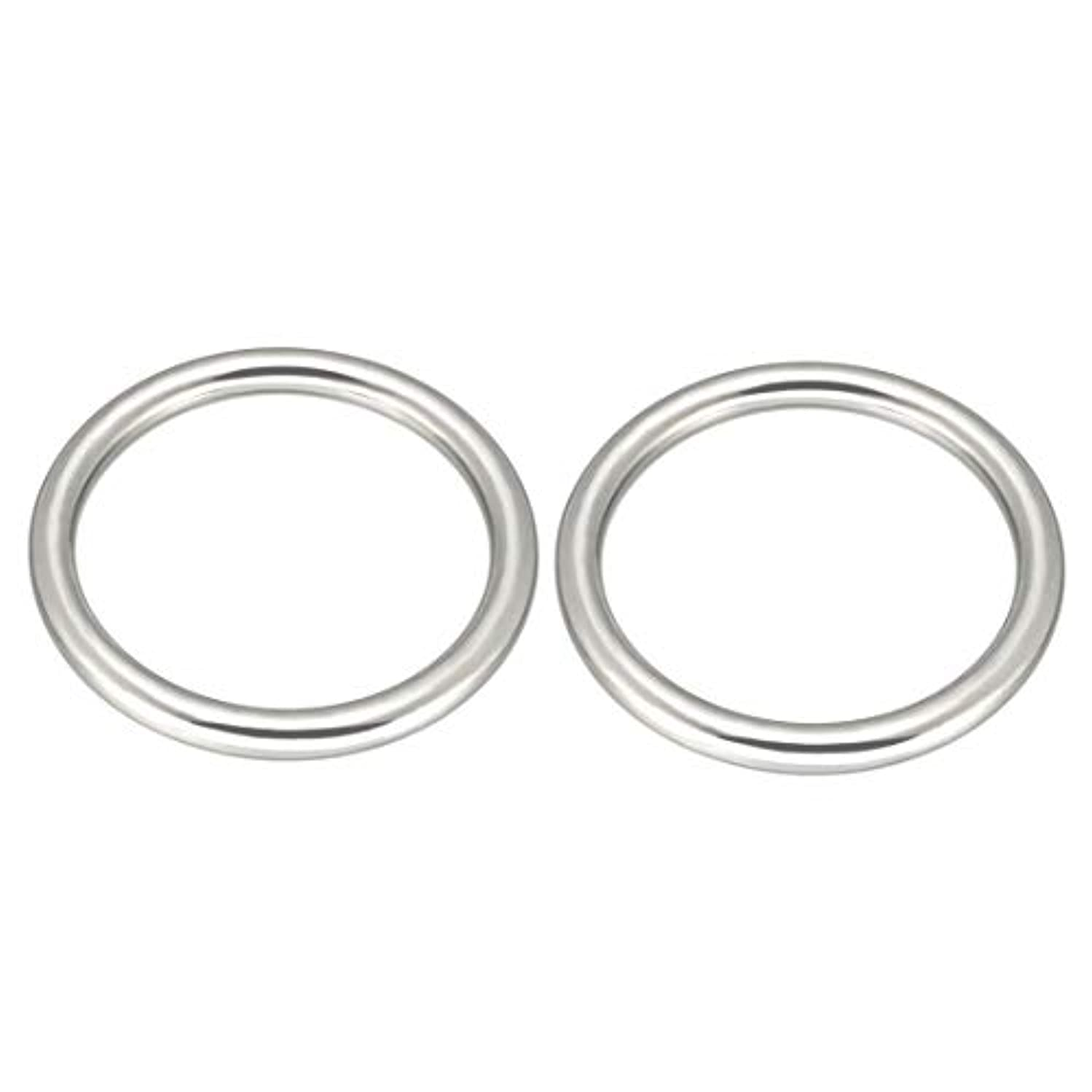 uxcell 2 Pcs Multi-Purpose Metal O Ring Buckle Welded 50mm x 40mm x 5mm for Hardware Bags Ring Hand DIY Accessories