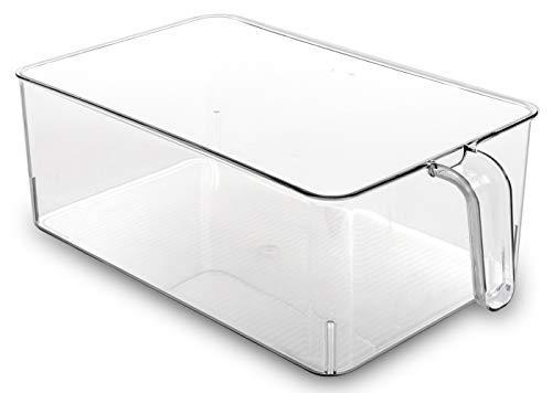BINO Refrigerator, Freezer, and Kitchen Pantry Cabinet Organizer Plastic Bin with Handle, Clear Plastic Storage Bins Refrigerator Organizer Bins Fridge Organizer Pantry Organizer Pantry Storage, Large