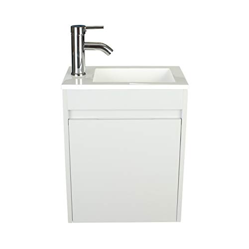 Bathroom Vanity Wall Mounted,Small Bathroom Vanity with Ceramic Sink,Grey Bathroom Vanity and Sink Combo,Chrome Faucet P-Trap Include (Grey)