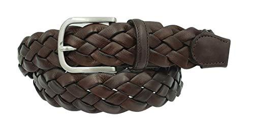 ESPERANTO Cintura intrecciata vero cuoio e pelle unisex 3,5 cm artigianale accorciabile - 4 varianti (Moro, Tg 48- LUNG TOTALE 110 CM-GIROVITA 95 CM)