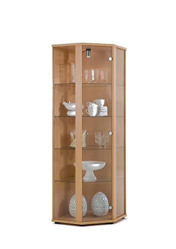 K-Möbel Eckvitrine (176x56,5x56,5 cm) in Buche mit 4 Glasböden aus ESG; beleuchtet; perfekt für Sammler;
