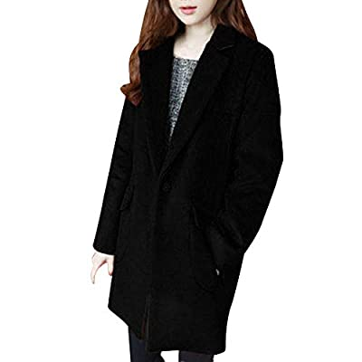 Caopixx Women Outwear Winter Warm Jacket Long Sleeve Wool Blend Pocket Button Coat Overcoat Cardigan