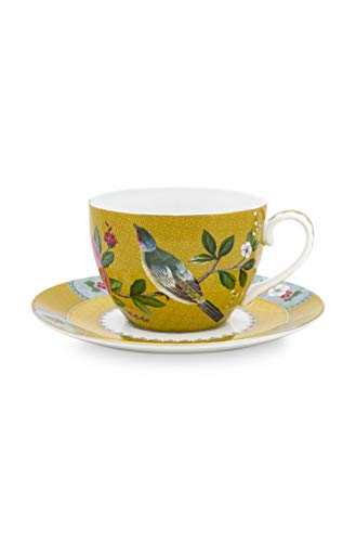 Pip Studio Cappuccino Tasse mit Untertasse Blushing Birds | Yellow - 280 ml