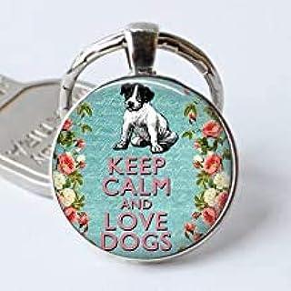 Llaveros de cristal con frase inspiradora «Keep Calm and Love Dogs», regalo para hombres y mujeres