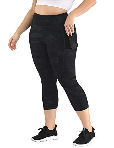 Uoohal Women's Plus Size Active Leggings High Waist Yoga Pants with Pocket Tummy Control Running Workout Athletic Legging Camouflage 3X