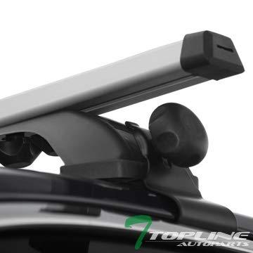 Topline Autopart Universal 50' Window Frame Style Aluminum Roof Rack Rail Cross Bars frc (Silver)
