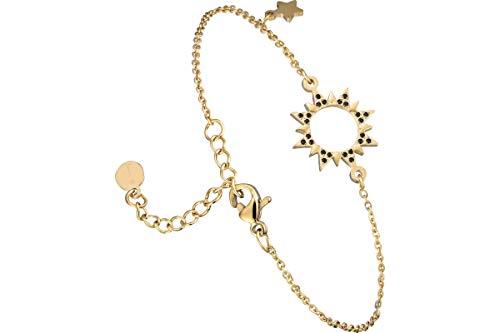 IKITA Sun chain bracelet, gold plating, rhinestone, black