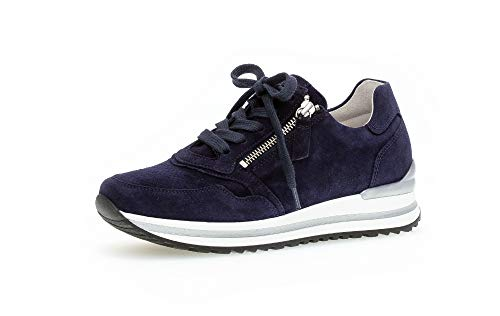 Gabor Damen Low-Top Sneaker, Frauen Schnürhalbschuhe,lose Einlage,Komfortable Mehrweite (H),schnürschuhe,schnürer,Blau (Bluette / 02),41 EU / 7.5 UK