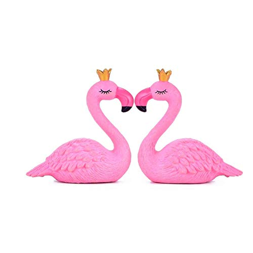 ZSQZJJ Sculpture Modern Decor Statue Ornaments,Flamingo Swan Love Bird Figurine Ornament Garden Fairy Decor Glass Diy Home Decor