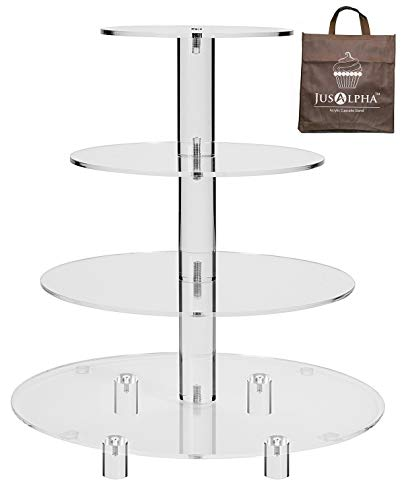 Jusalpha 4 Tier Acrylic Glass Round Cake Stand-cupcake Stand- Dessert Stand-tea Party...