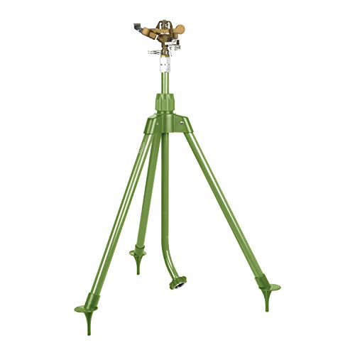 Martha Stewart MTS-TIS39B Rociador de impulsos de latón resistente con trípode extensible, jardinería