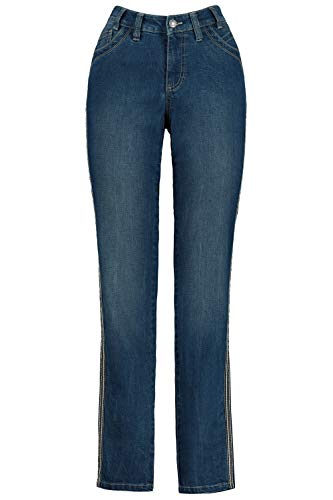GINA LAURA Damen Jeans Julia, Galonstreifen, bequemer 5-Pocket-Schnitt Blue Denim 40 728610 92-40