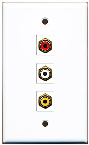 RiteAV - 1 Port RCA Red and 1 Port RCA White and 1 Port RCA Yellow Wall Plate