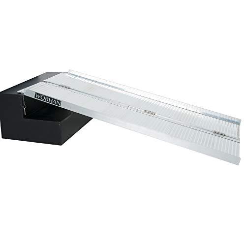 WORHAN® Rampa Plegable Carga Silla de Ruedas Discapacitado Movilidad Aluminio Anodizado (153cm...