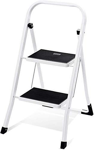 HOUSE DAY Escabeau pliant en 2 étapes avec échelle antidérapante robuste et large pédale multi-usage pour le ménage et le bureau Tabouret-escabeau portable en acier 150KG blanc