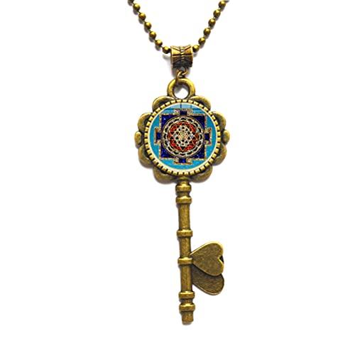 Collar de llave de mandala budista, joyería de geometría sagrada, collar de llave tibetano, regalo espiritual, collar de llave para hombre, colgante de mandala para hombre-JV145