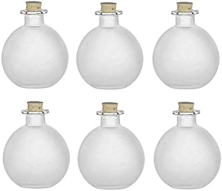 Nakpunar 6 pcs Spherical Glass Bottles with Cork Bottle Stopper (6, 8.5 oz Frosted)