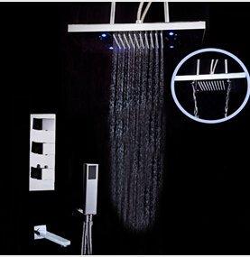 CLJ-LJ Grifo mezclador termostático de la válvula del grifo montado en el techo de la ducha de la lluvia con rociador de la ducha de mano, transparente