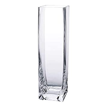 Diamond Star Tall Square Vase Home Decorative Flower Glass Vase Wedding Party Table Centerpieces  3 ×3 ×12