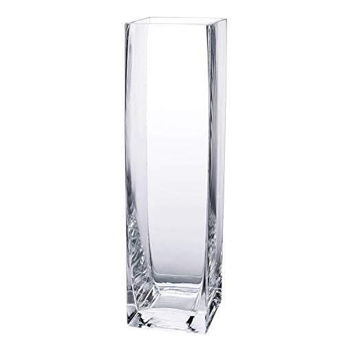 "Diamond Star Tall Square Vase Home Decorative Flower Glass Vase Wedding Party Table Centerpieces(3""×3""×12"")"