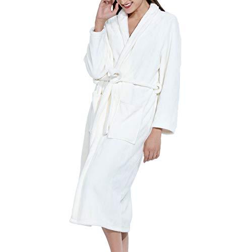Micv Damen Bademantel Senden Sie trockene Haarkappe , Morgenmantel flauschig Bath-Robe, White, L