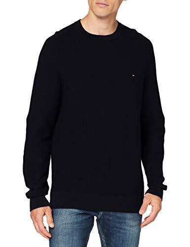 Tommy Hilfiger Bold Textured Cotton Sweater Maglione, Blu (Dark Blue), Small Uomo