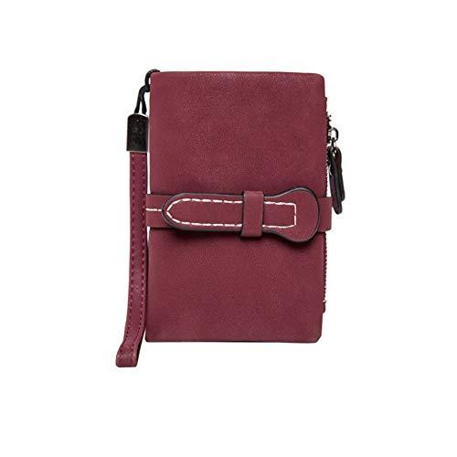 NOLOGO Frauen schließen Mappe PU weiches Leder Normallack Klappgeldbörse niedliche Geldbörse Vertical Wallet (Color : Claret)