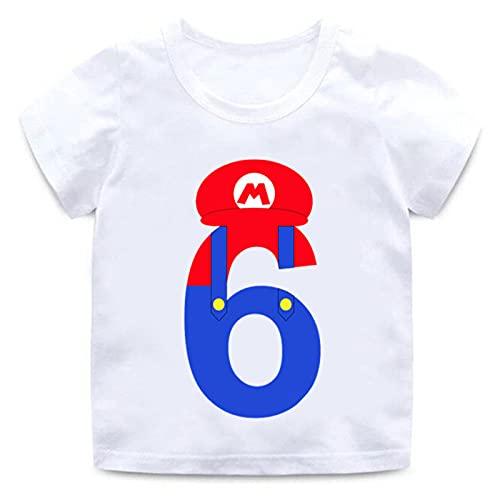 Cartoon Super Mario Número 1-9 Impresión de Letras Niños Niñas Camiseta Feliz cumpleaños Regalo Ropa Unisex Manga Corta Tshirt Verano Blanco