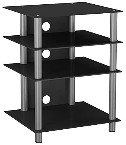 VCM Bilus-Mueble para Equipo de Alta fidelidad, Cristal de Color Negro