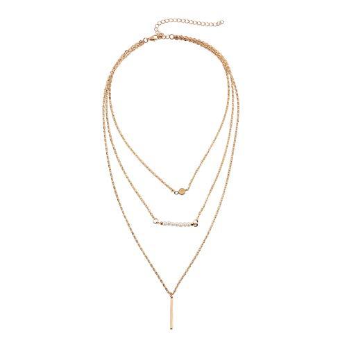 Beydodo Mehrschichtige Kette Vergoldet Beads und Zylinder Choker Kette Tattoo Y Halskette Damen Gold
