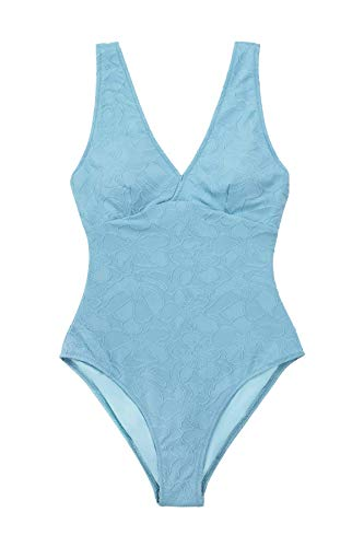 CUPSHE Women's One Piece Swimsuit Blue Floral V Neck Wide Straps Bathing Suit, L