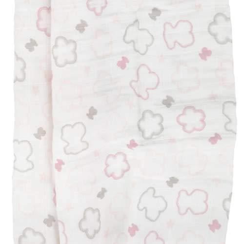 TOUS BABY - Muselina con Estampado de Flores y Osos para tu Bebé. (0 a 36 Meses) (Rosa)