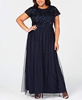 ADRIANNA PAPELL Womens Navy Sequined Gown Tulle Short Sleeve Jewel Neck Full-Length A-Line Evening Dress Plus US Size: 22W