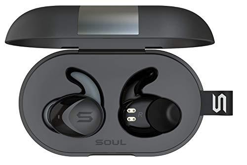 SOUL Electronics ST-XS2 ultimative Aktive Leistung True Kabellose Bluetooth 5.0 Kopfhörer mit IPX7 Wasserdicht und ergonomischer C-förmigen Ohrhaken, schwarz