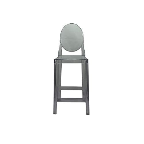ZEZHOU Silla Alta Transparente, Silla del Diablo Ghost Bar Stool Taburete Alto Taburete Minimalista Moderno de 4 Colores Opcionales (Color : Transparent Gray 65cm)