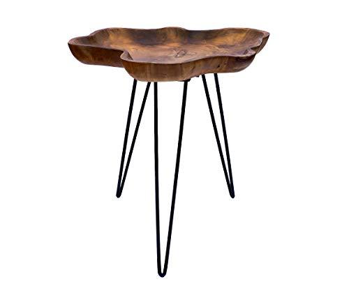 Brillibrum Design Teakholz Tisch mit Rand robuster Beistelltisch Teak Tabletttisch Baumscheibe rund mit Rand Natur Wohnzimmertisch Holztisch auf Eisengestell Couchtisch Unikat