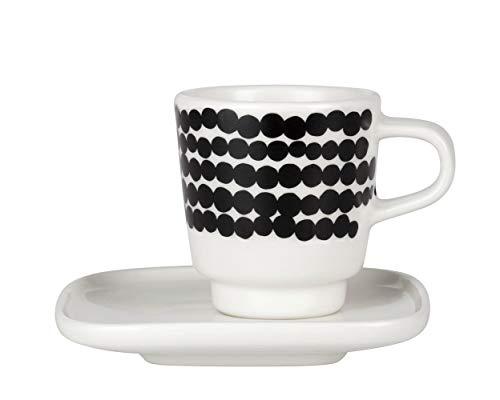 Marimekko - Espressotasse mit Untertasse - Oiva-Siirtolapuutarha - Keramik - Weiß-Schwarz - 2-teilig