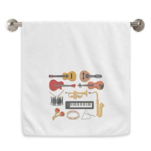 DIYthinker elektrische piano trombone gitaar muziek cirkel wit handdoeken zachte handdoek wasdoek 13x29 inch