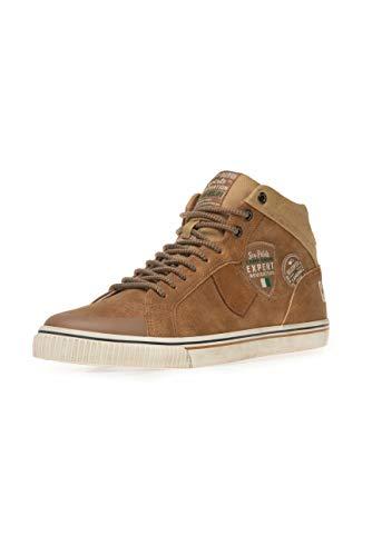 Camp David Herren High Top Sneaker im Materialmix mit Label Patches