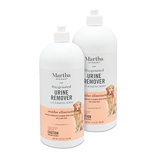 MARTHA STEWART for Pets Oxy-Powered Urine Remover for Pet Stains, 2 Pack | Effective Pet Urine Odor Eliminator and Carpet Cleaner, Fresh Citrus Grapefruit Scent, 32 Ounces Per Bottle (64 oz Total)